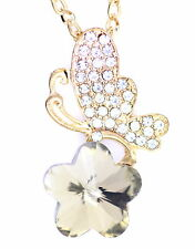 Large gold and clear butterfly on a plum flower necklace