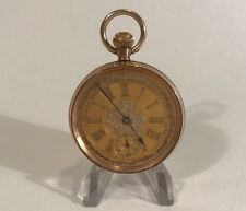 Antique Engraved 9ct 0.325 Gold Pocket Watch Engraved Gold Dial Good Runner