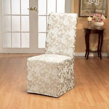 Sure Fit Scroll Long Dining Room Chair slipcover  Champagne