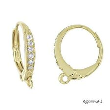 Fine 18kt Gold Plated Sterling Silver CZ Leverback Earring Hook Ear Wire #97075