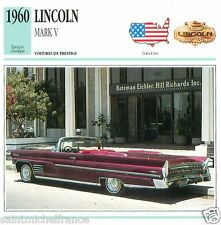 LINCOLN MARK V 1960 CAR VOITURE UNITED STATES ÉTATS UNIS CARTE CARD FICHE
