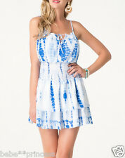 NWT Bebe white blue printed straps cutout stretchy waist flare top dress XS 0 2