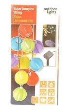 10 er LED Solar Lampion Lichterkette bunt Lampionkette