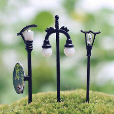 5pcs Miniature Resin Fairy Mini Streetlights With Cable Dollhouse Lawn Ornaments