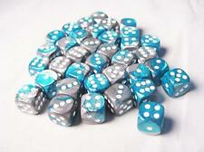 Chessex Dice Steel Teal with white Gemini D6 12mm Set of 36 Die CHX 26856
