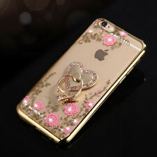 Soft Flowers TPU Luxury Bling Diamond Ring Holder Stand Clear Case Cover QUOTED