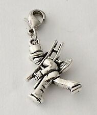 SILVER  CHIMNEY SWEEP WITH LADDER  CLIP ON CHARM - 3D  - TIBETIAN SILVER - NEW