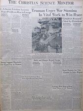 10-1945 October 27 TRUMAN URGES WAR STAMINA IN VITAL WORK Birthday Newspaper