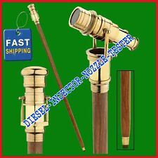 Nautical Wooden Walking Stick Cane With Polished Solid Brass Telescope Spyglass