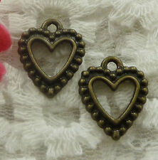 free ship 210 pieces bronze plated heart charms 17x14mm #2262