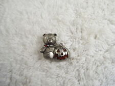 Silvertone Teddy Bear Pumpkin Pin (A46)