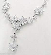 "16"" Solid Sterling Silver D-Flawless AAA CZ Flower Cluster Necklace +3"" Extender"