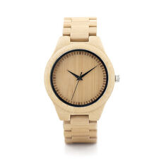 Unisex Wooden Bamboo Watch with soft bamboo band quartz watches for men women