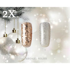 2X RS 248249 Gel Nail Polish UV LED Glitter Silvery Sequined Gold Soak Off 15ml