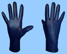 NEW WOMENS size 7 NAVY BLUE GENUINE LEATHER SILK LINED DRESS GLOVES