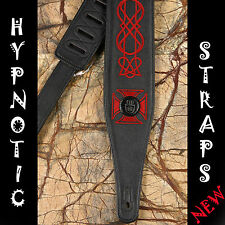 HYPNOTIC STRAPS IRON CROSS BLACK WITH RED EMBROIDERY LEATHER GUITAR BASS STRAP