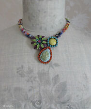 Signed BOHM Enamel Flower Vintage Necklace Gold/Lime/Pink/Turquoise BNWT RRP £35
