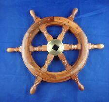 "18"" Vintage Boat Ship Steering Wheel Brass Hub Wood Wooden Decor Nautical Pirate"