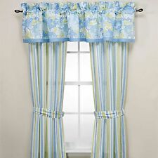 Laura Ashley Somerset Window Panel Drapes & Valance Shabby Floral Stripes Blue