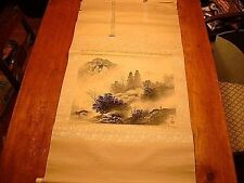 Antique Japanese Wall Hanging Silk Scroll Signed