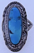 Bright Turquoise Stamped Braided Rope Design Sterling Silver Size 7.75 Ring Fine