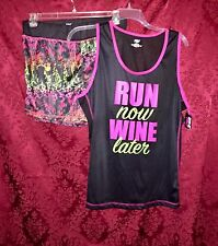 """NWT """"Run Now Wine Later"""" Workout Fitness Exercise Outfit Set Tank & Shorts 3X"""