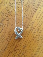 Tiffany & Co Sterling Silver Paloma Picasso Heart Ribbon Necklace