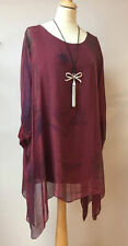 "Stunning L/XL PLUS SIZE SILK BATWING TOP BY ""MADE IN ITALY"" UP TO 54""b 16,18,20"
