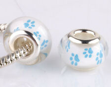 jewelry 5pcs Big hole SILVER MURANO bead LAMPWORK fit European Charm Bracelet