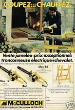 Publicité advertising 1980 La Tronconneuse McCulloch