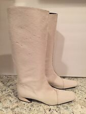 Fendi Boots Knee High Flat Low Heel Tall Pony Hair White 39/8.5/9 $1000 & Up
