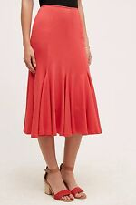 NWT Sz 12 Anthropologie Knit Trumpet Skirt Red L Size Large by HD in Paris