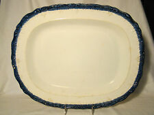 Early English Pearlware Blue Molded & Feather Edge Deep Dish Platter c18th c