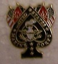 Hat Lapel Push Tie Tac Pin USMC Spade and Flags NEW