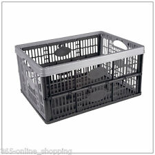 32L Plastic Folding Storage Box Container Basket Crate Stack Foldable Portable