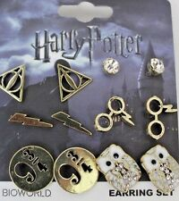 Harry Potter Deathly Hallows 6 Pair Earrings Set Hedwig Owl 9 3/4 Glasses Scar