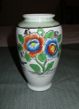 "Made in Japan 5"" Porcelain Vase, Hand Painted Red & Blue Flowers, Bird"