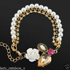 Beautiful Sparkling Crystal Flower Pearl Fashion Bracelet Jewellery For Women