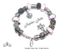 Authentic Pandora Silver Bracelet Euro Charms Love Mom Mothers Day Pink White