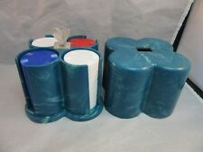 Vtg Skyline Ind. plastic blue swirl poker chips holder with heart handle
