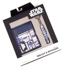 STAR WARS R2-D2 Blue Bifold Wallet & R2 D2 Key Chain Mini Flashlight Gift Set