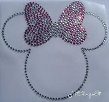 Minnie Mouse with Bow Pink Hot Fix Iron On Rhinestone Bling Transfer MADE IN USA