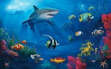 "HD Art Canvas Print Oil Painting ,underwater world, coral, sharks, turtle16""x24"""