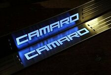Stainless Blue LED Light Door Sill Scuff Plate Guard for Camaro 2010-2015