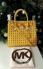 "MICHAEL KORS ""HAMILTON"" North South LG Gold Studded Yellow Leather Satchel Bag"