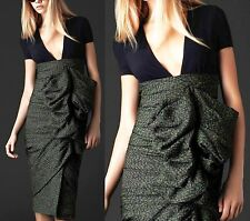 $3,995 RUNWAY Burberry Prorsum sz US 12 Gray Silk Blend Formal Dress Skirt Women