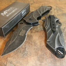 MTECH BALLISTIC Spring Assisted Opening Tactical Folding Rescue STONE WASH Knife