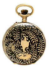 Ladies Niello Case Pocket Watch Silver with Niello Enamel and Rose Gold Inl Case