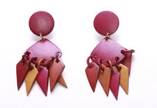 FUN DARK PINK WOODEN DISC CHANDELIER EARRINGS WITH MIXED TRIANGULAR SHAPES(ZX43)