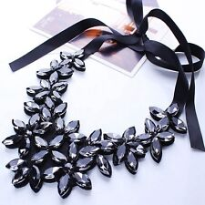 Elegant Crystal Flower Ribbon Chain Necklace Women Bib Statement Collar Chunky